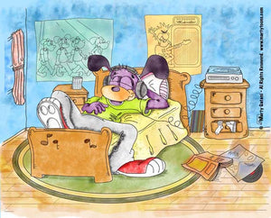 Original cartoon design celebrating the joys of music. Features an original cartoon dog character listening to music on it's headphones in it's bedroom.