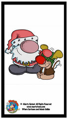 Lil Santa and Christmas Puppy Cartoon Wallpaper for Mobile Device