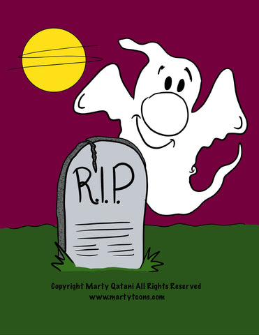 LIL MONSTER SPOOKY HALLOWEEN GHOST GRAVEYARD DIGITAL CARTOON BACKGROUND