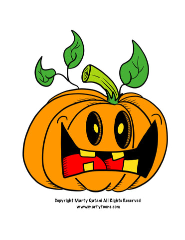 LIL MONSTER SPOOKY HALLOWEEN PUMPKIN DIGITAL CARTOON DESIGN