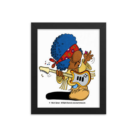 Classic Rock Guitaris Cartoon Framed Music Print