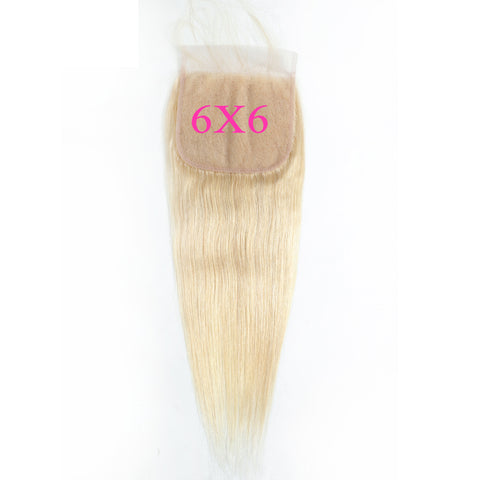 6x6 Human Hair Lace Closure Straight Blonde 613#