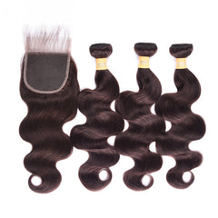 6A Colored Human Hair Weave with Closure Body Wave 2#