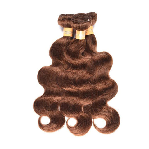 Colored Human Hair Weave with Closure Body Wave 4#
