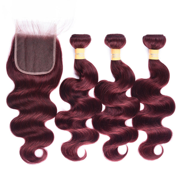 Colored Human Hair Weave with Closure Body Wave 99J#