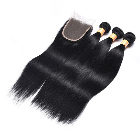 6A Colored Human Hair Weave with Closure Straight 1#