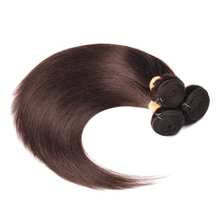 6A Colored Human Hair Weave with Closure Straight 2#