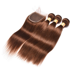 Colored Human Hair Weave with Closure Straight 4#
