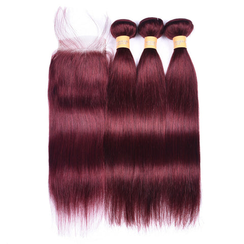 Colored Human Hair Weave with Closure Straight 99J#
