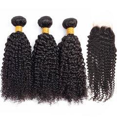 6A Human Hair Weave with Closure Kinky Curl Natural Black