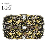 Boutique De FGG The Brigitte Black Beaded Womens Clutch Purse Evening Handbag - Beaded Clutch