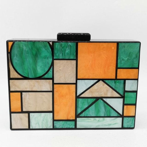 Boutique De FGG The Giada Green Geometric Acrylic Clutch Purse Womens Evening Handbag - Clutch