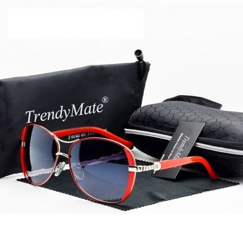 Classy TrendyMate UV400 Designer Sunglasses for Women - Red - Sunglasses