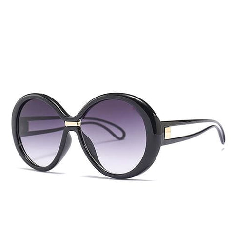 Coolio Big Round UV400 Unisex Designer Sunglasses - c1 Black Gray - Sunglasses
