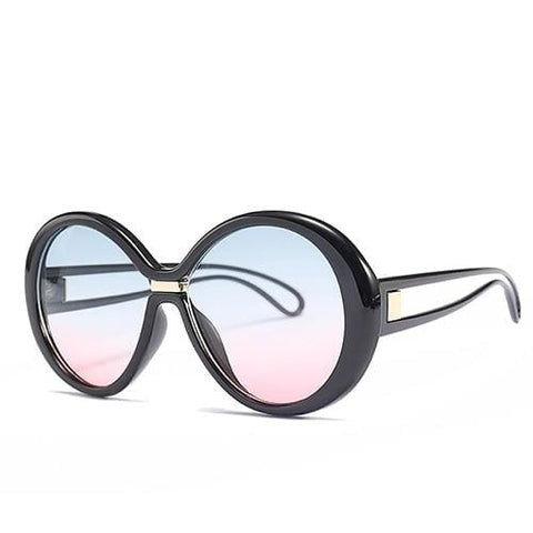 Coolio Big Round UV400 Unisex Designer Sunglasses - c3 Black Blue Pink - Sunglasses