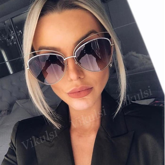 Glam Bam UV400 Oversize Mirror Cat Eye Sunglasses for Women - Sunglasses