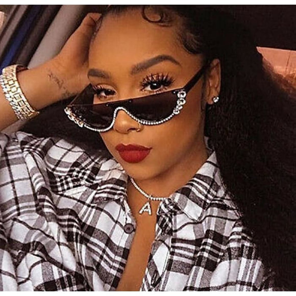 Half Moon Rhinestone Bling Cat Eye Sunglasses for Women - Sunglasses