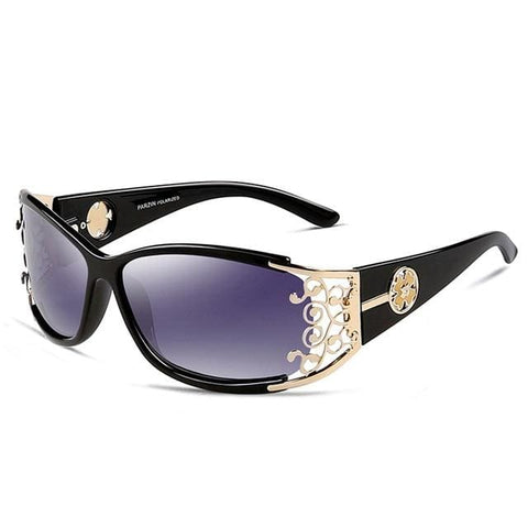 Queen PARZIN Polarized Lace Frame Sunglasses for Women - Black-Gold / Polarized With Case - Sunglasses