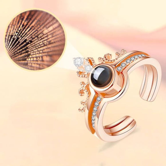 Romantic I Love You Projection Fashion Ring for Women - Ring