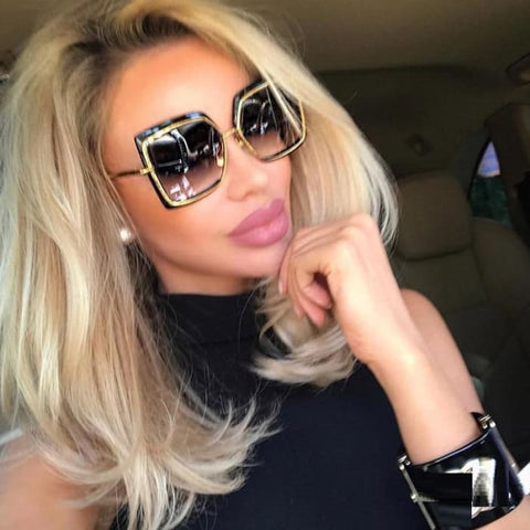 Sultry Oversize Square UV400 Mirror Sunglasses for Women - Sunglasses