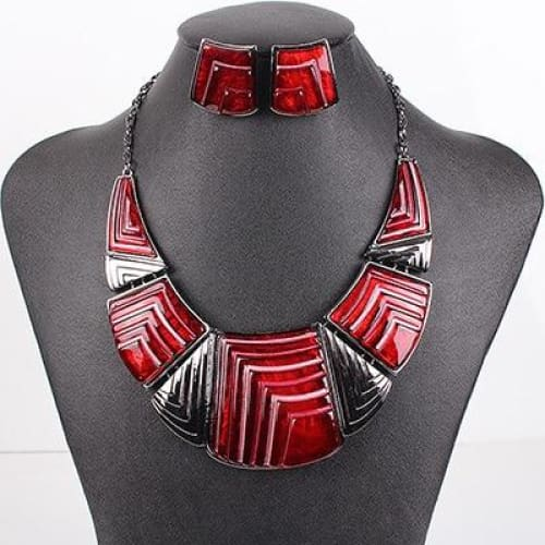 The Avie Chunky Womens Fashion Statement Necklace Earrings Jewelry Set - Red - Statement Jewelry Set