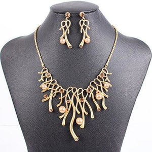 The Exclusive Fashion Statement Gold Necklace Earrings for Women - Statement Jewelry Set