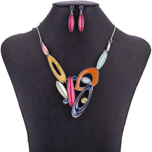 The Gumdrop Multicolor Womens Fashion Statement Jewelry Necklace Earrings Set - Multicolor - Statement Jewelry Set
