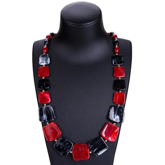 The Pippi Maxi Statement Necklace Long Beads Geometric Fashion Necklace for Women - Maxi Statement Necklace