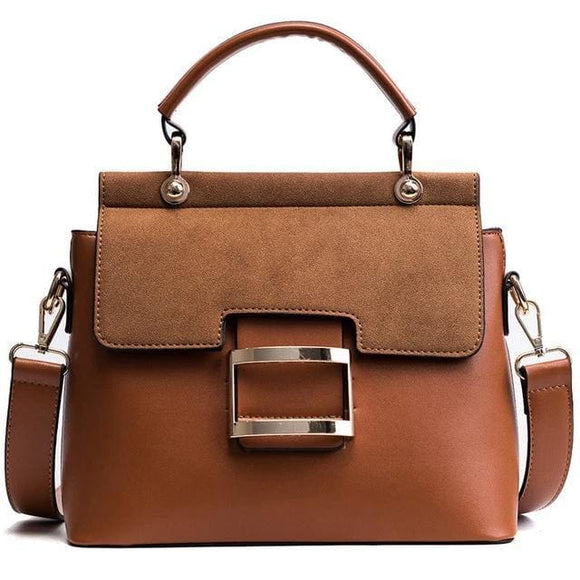 ZMQN The Stylistic Vintage Leather Crossbody Shoulder Womens Handbag - Brown / 10.23 x 3.93 x 8.66 in / 26 x 10 x 22 cm - Handbag