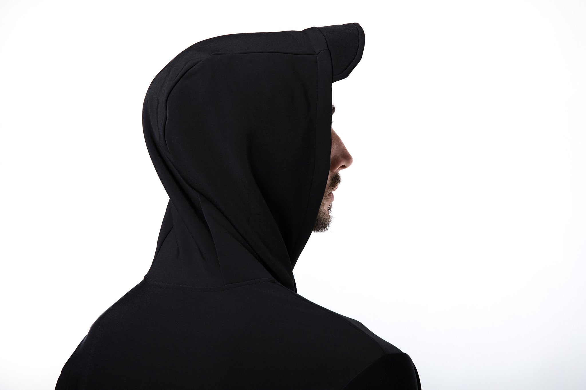Hoodie with Visor in Black - Streetwear by Coroa Yoga
