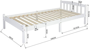 EGGREE lit simple, lit double, lit en bois,Blanc