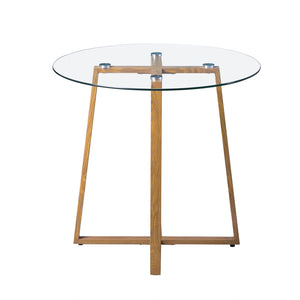 Table à Manger en Verre Ronde Scandinave Transparent 80.5 * 80 * 74.5 cm