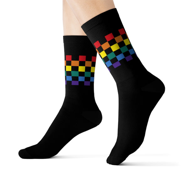 RAINBOW BLOCKS BLACK CREW SOCKS