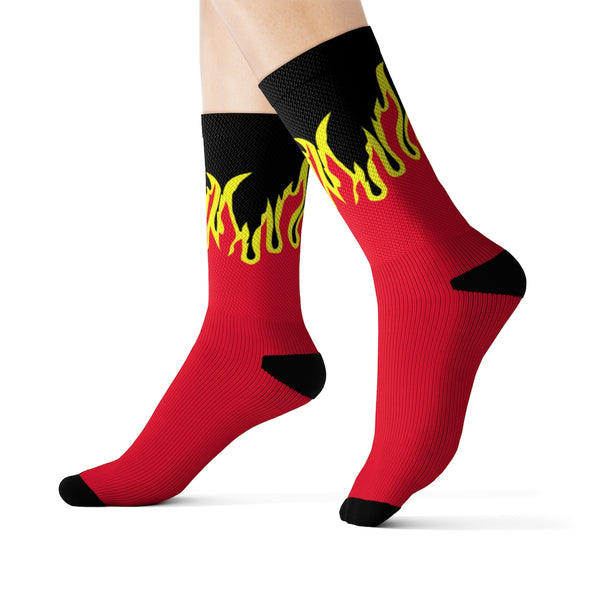 FIRE PRINT IN RED/BLACK CREW SOCKS