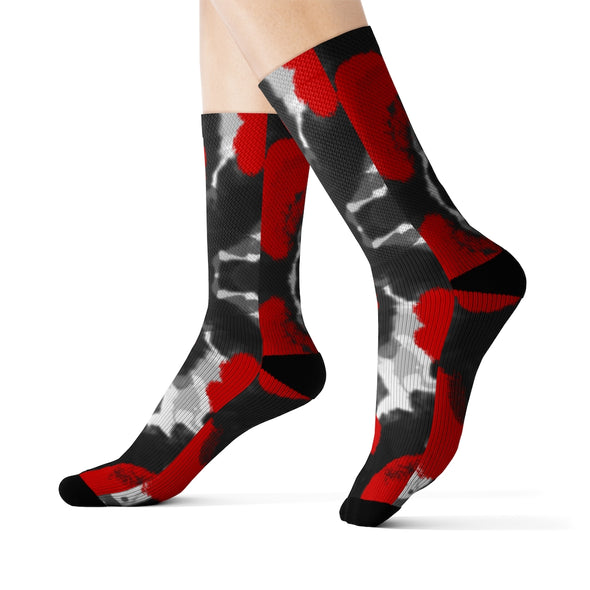 RED BLACK GREY TIE DYE CREW SOCKS