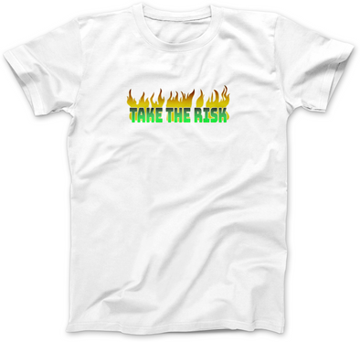 TAKE THE RISK IN NEON GREEN PRINT T-SHIRT