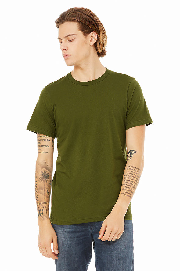 OLIVE CREW NECK ESSENTIAL TEE