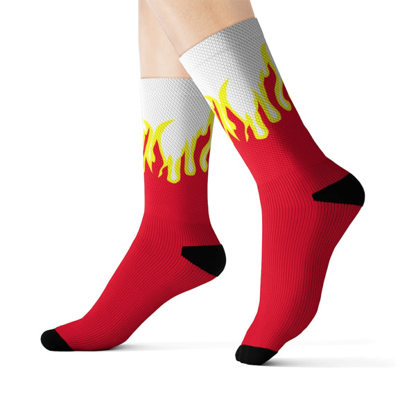 FIRE PRINT IN RED/WHITE CREW SOCKS