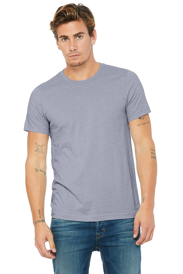 BLUE HEATHER CREW NECK ESSENTIAL TEE