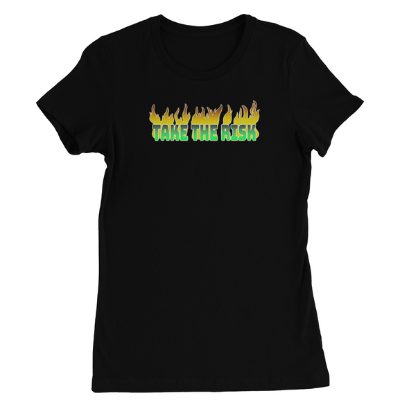 TAKE THE RISK IN NEON GREEN PRINT WOMEN'S T-SHIRT