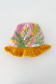 Abstract Patchwork Chunky Knit Bucket Hat