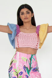 Angel Mixed Knit Crop Top