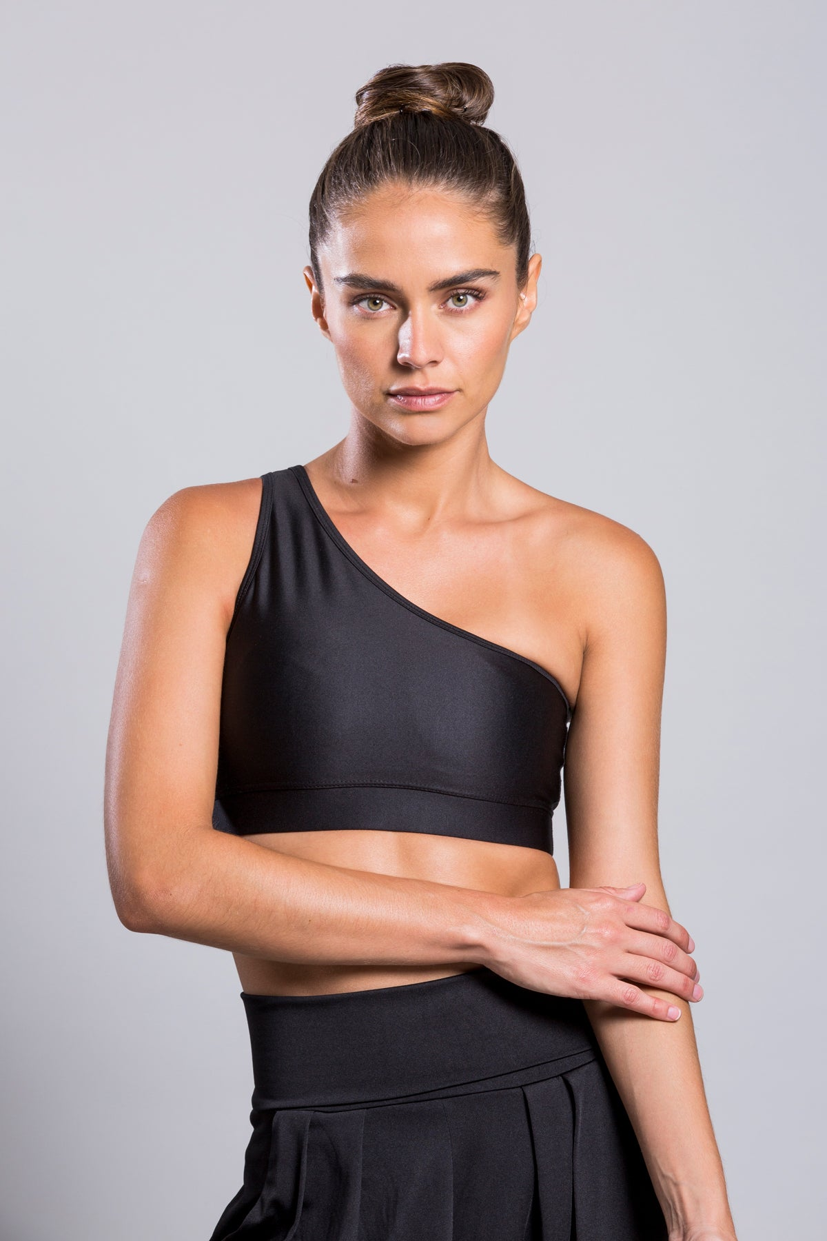One Shoulder Black Top