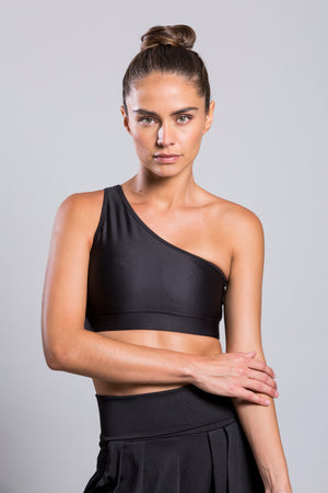 One Sshoulder Black Top