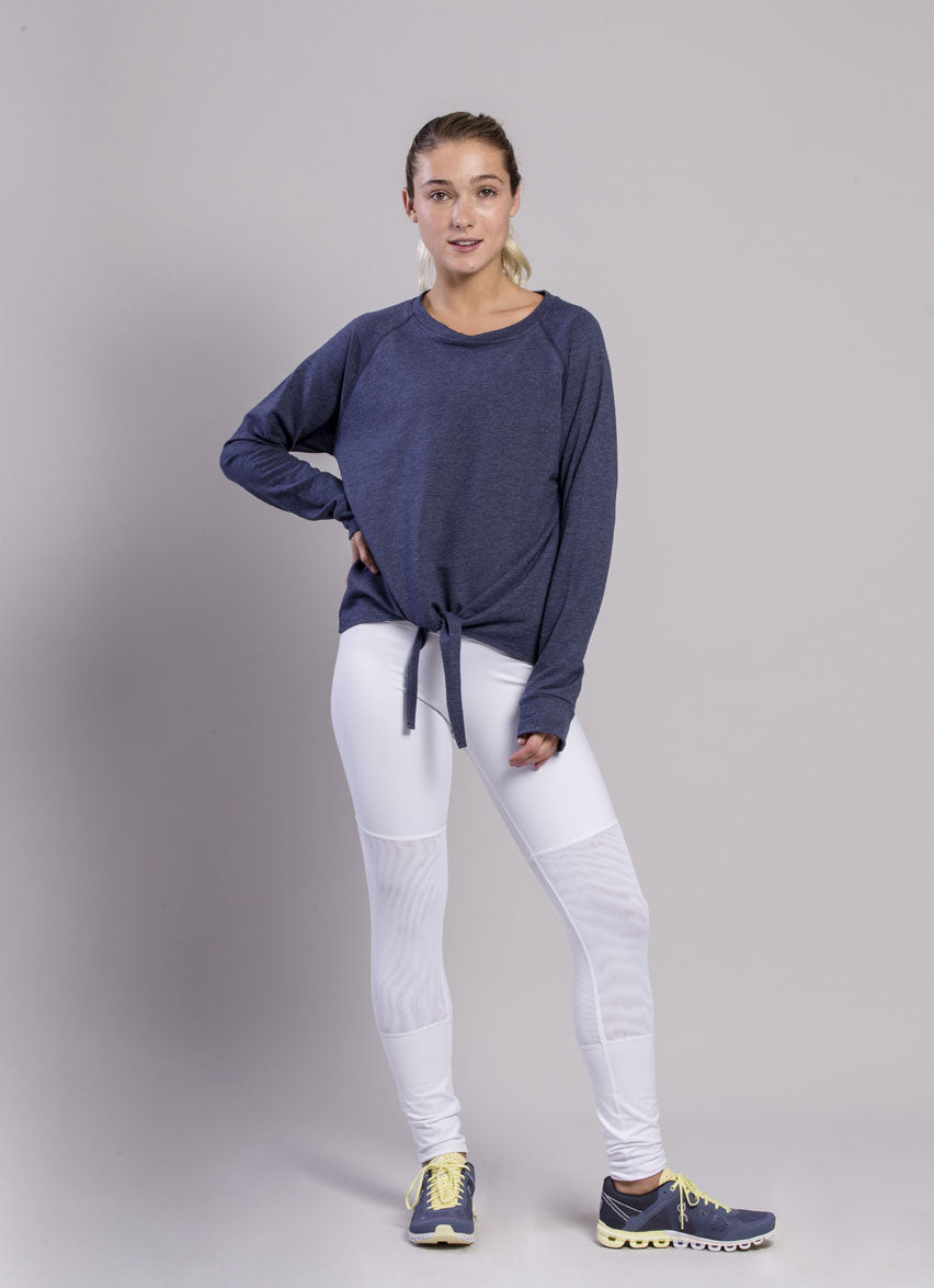 Open Front Knot Blue Hoodie