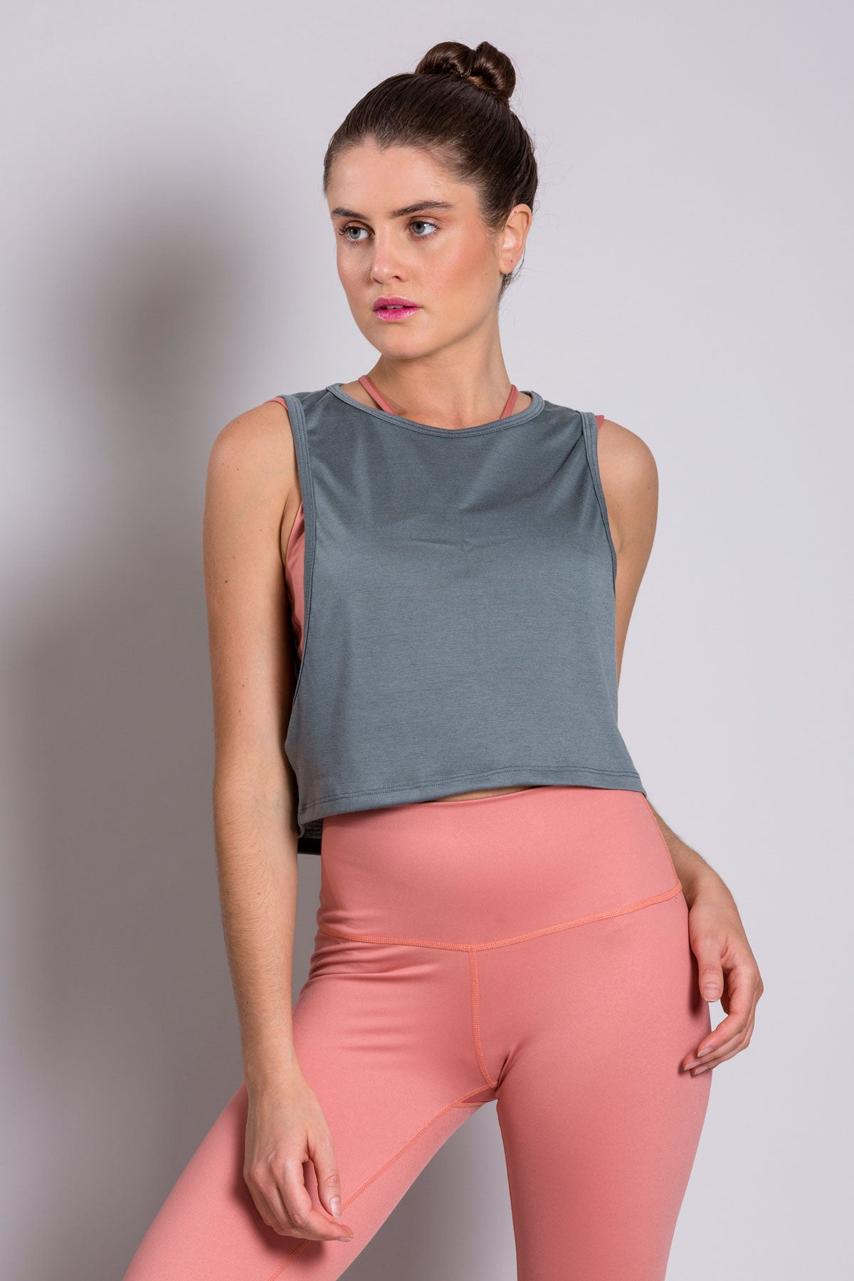 Crop Top Bluish Gray T-Shirt