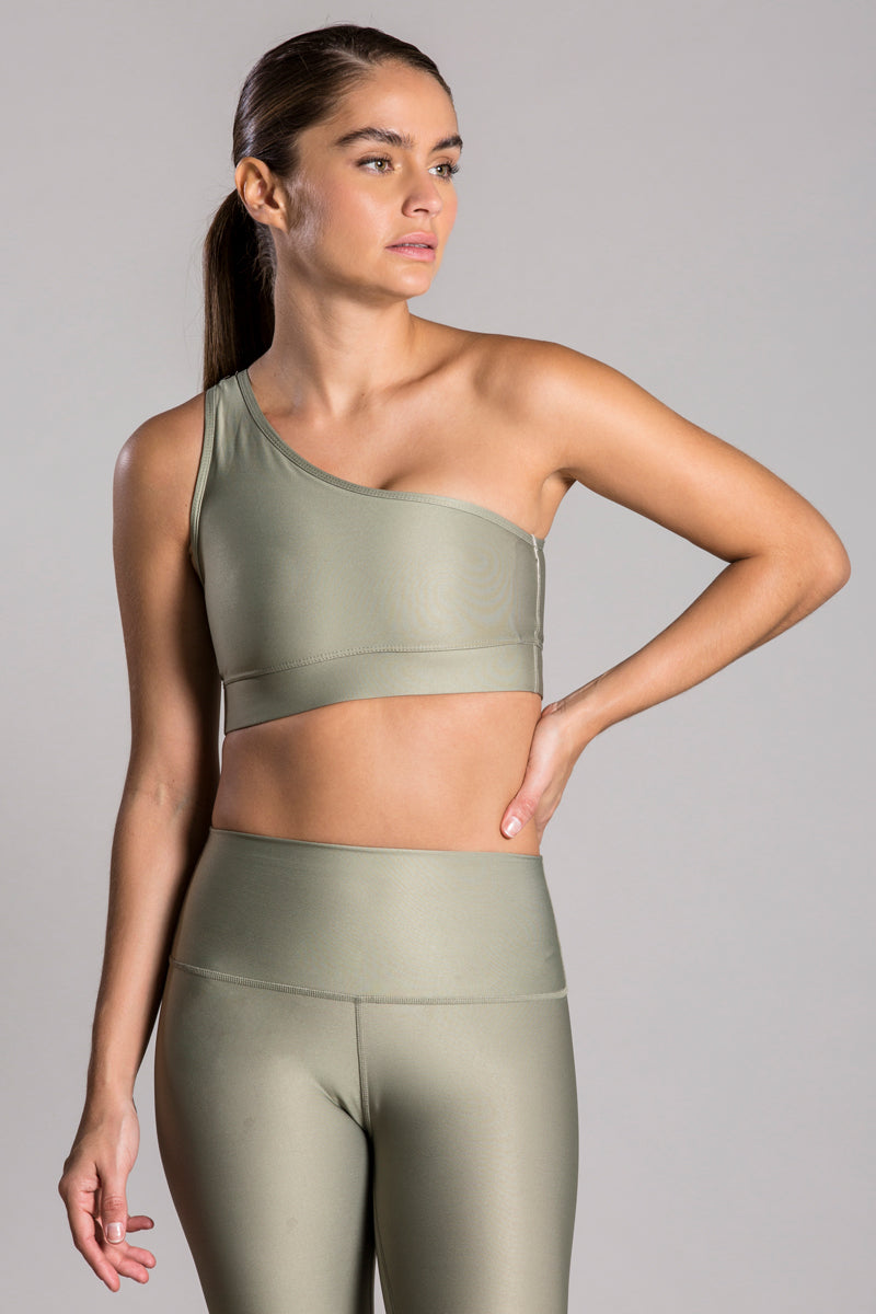 One Shoulder Olive Top
