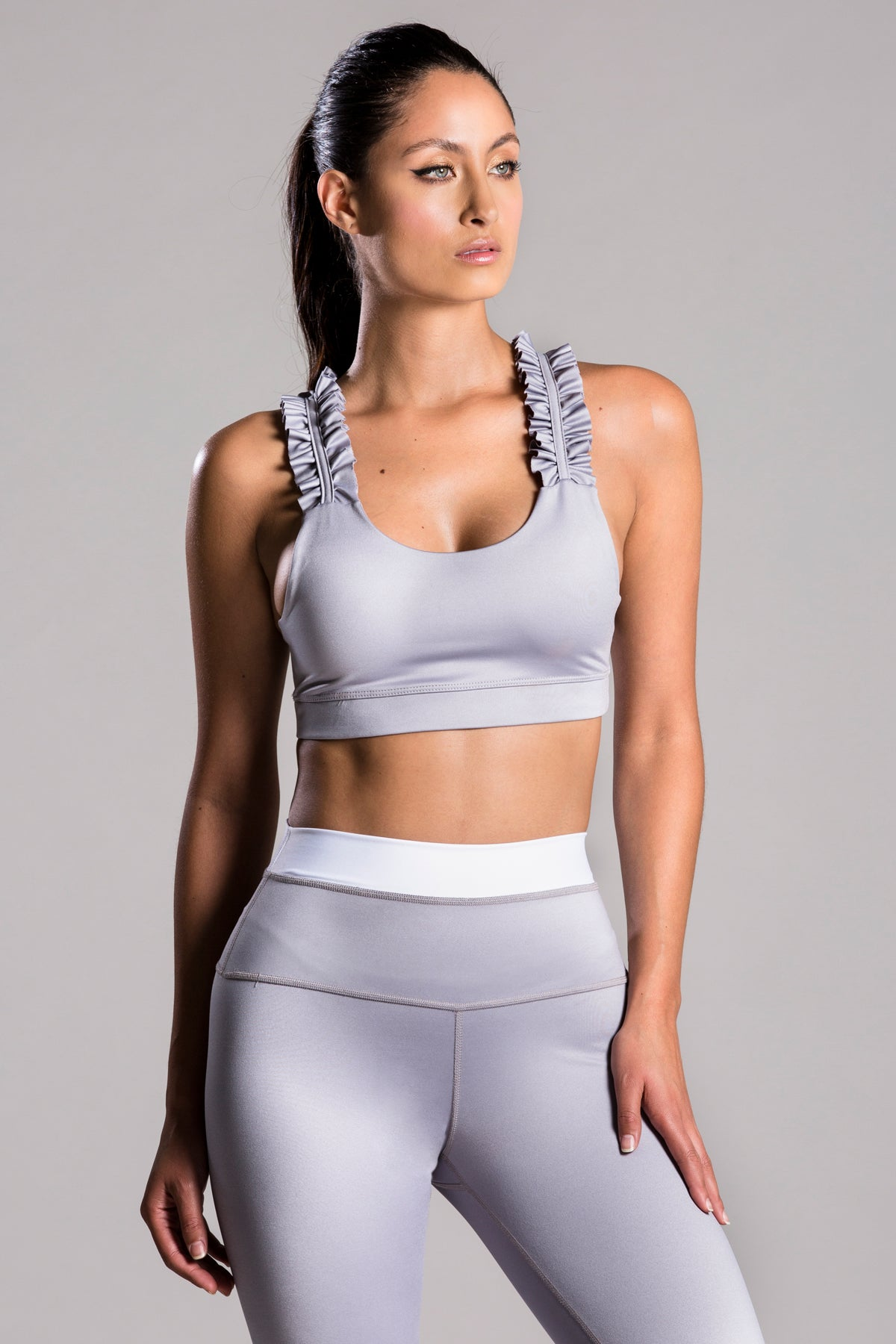 Sarah Basic Gray Top For Body Barre