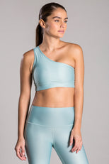 One Shoulder Light Blue Top