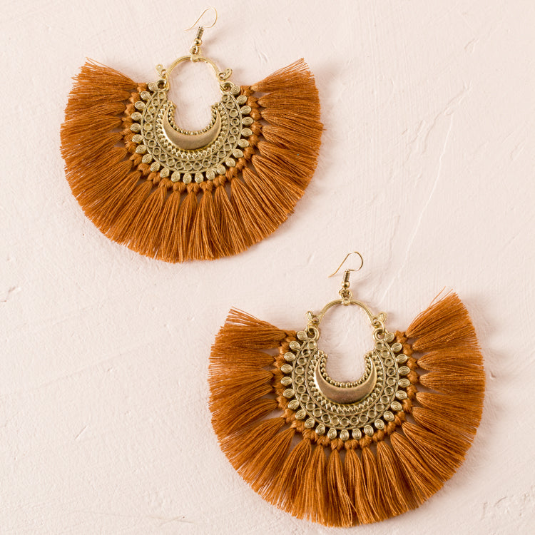 Metal Detail Fringe Hook Earrings